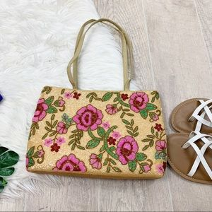 Floral Entirely Beaded Tan and Pink Hand Purse